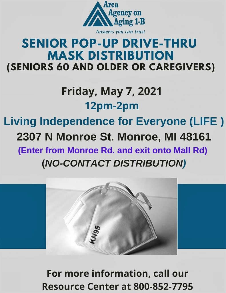Flyer for face mask distribution event in Monroe, Mi in Friday, May 7, 2021